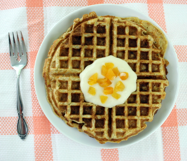 Carrot Cake Apricot Waffles With Honey Cream Cheese Topping Recipe
