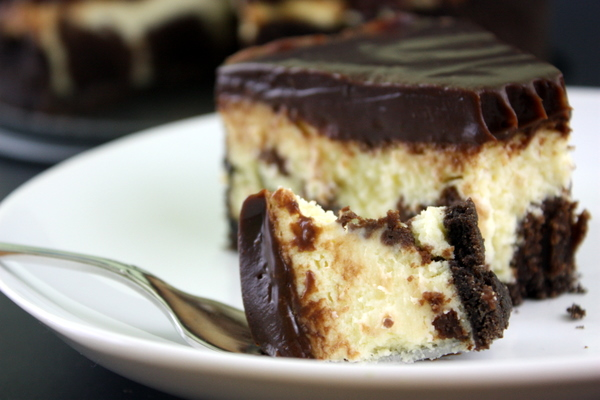 Brownie Cheesecake with Chocolate Caramel Ganache
