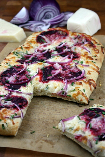 beet-onion-and-chive-flatbread | The Kitchen Paper
