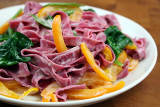 Blue Cheese Sauce with Beet Pasta and Veggies – The Kitchen Paper