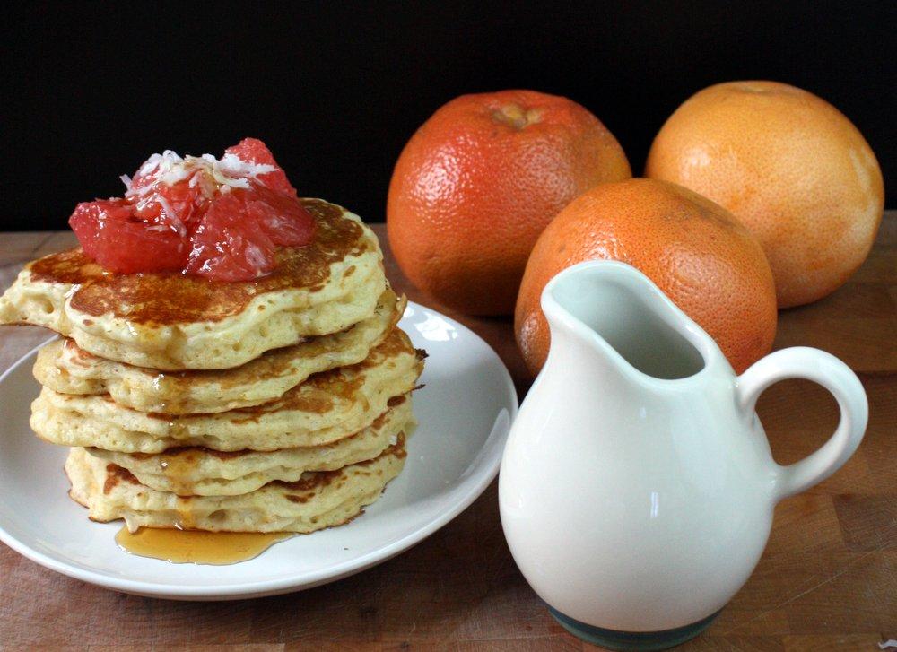 Coconut Grapefruit Pancakes