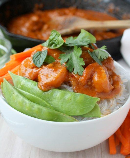 thai peanut shrimp bowls