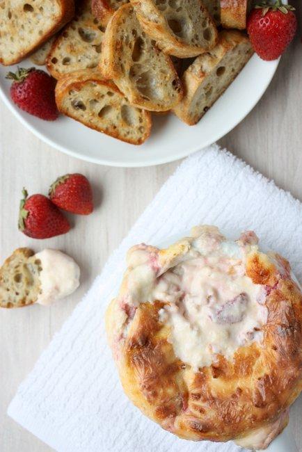 Hot Smoked Gouda Strawberry Cheese Dip