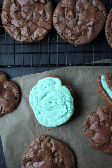 mint brownie sandwich cookies