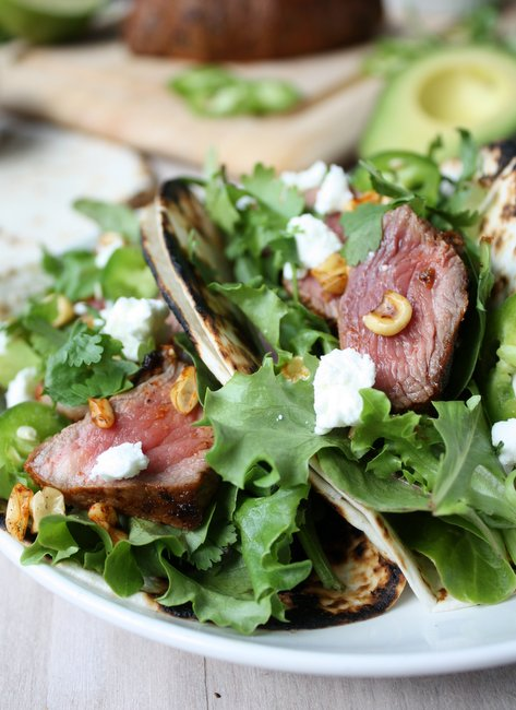 steak tacos with charred corn and goat cheese
