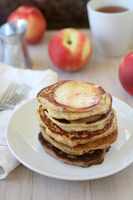 Greek Yogurt Peach Pancakes