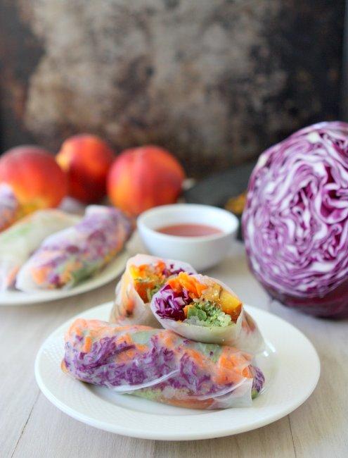 Grilled Peach Spring Rolls