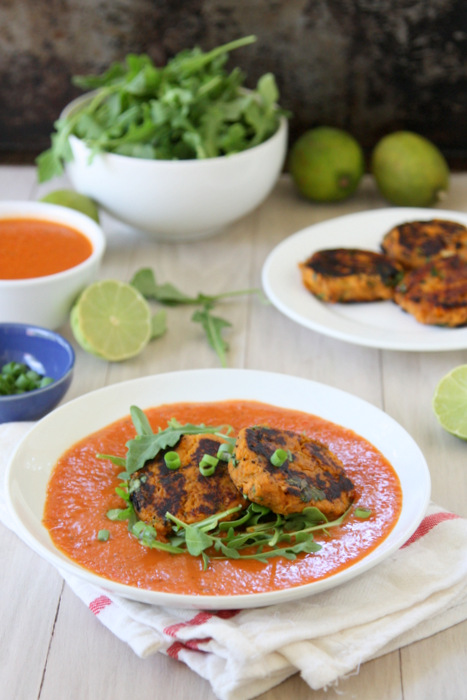 Sweet Potato Cakes with Spicy Coconut Tomato Sauce