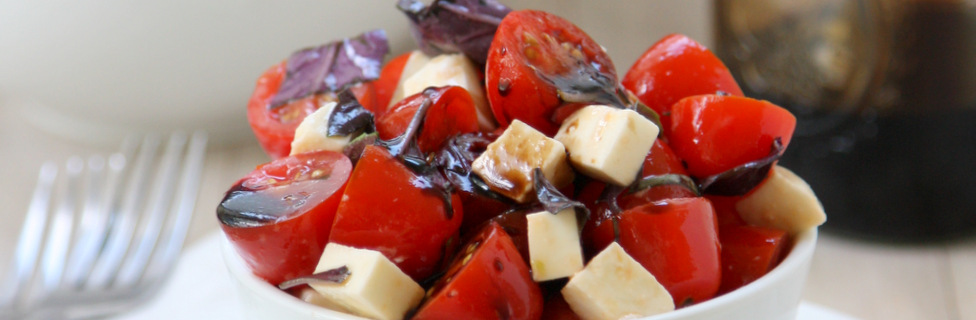 purple basil caprese salad