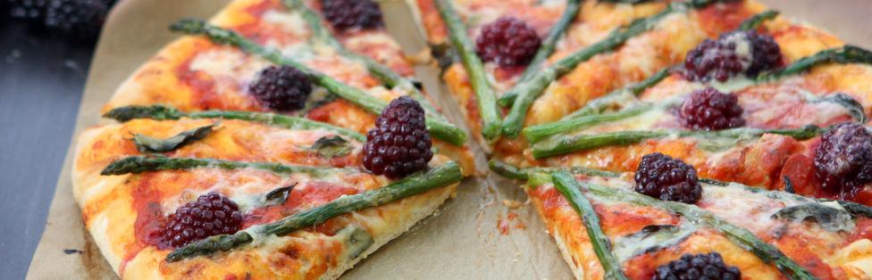 Blackberry Asparagus Gruyère Pizza