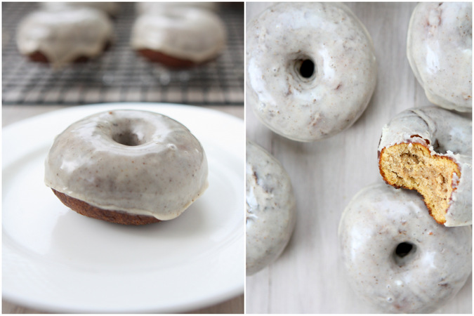 Pumpkin Spiced Cake Doughnuts with Spiced Maple Glaze
