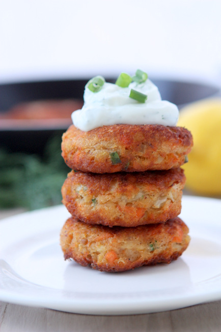 Potato and Salmon Cakes with Ginger and Scallions