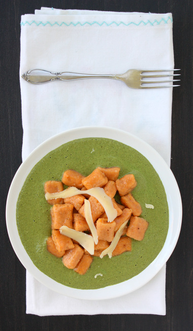 Sweet Potato Gnocchi with Spinach Goat Cheese Sauce
