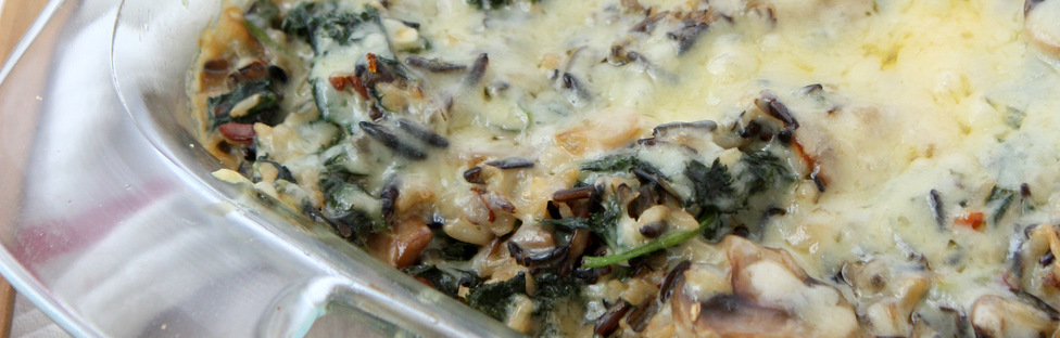 Mushroom Kale Wild Rice Casserole | thekitchenpaper.com