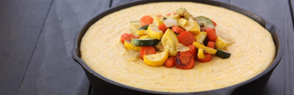 Creamy Fontina Polenta with Roasted Vegetables | thekitchenpaper.com