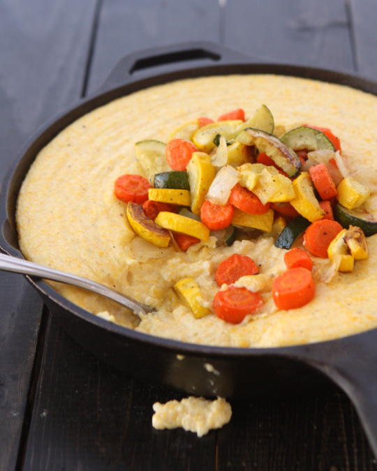 Creamy Fontina Polenta with Roasted Vegetables | thekitchenpaper.com