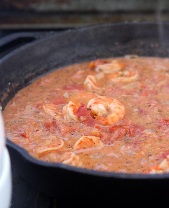 Creamy Tomato Pasta with Lemon Shrimp | thekitchenpaper.com