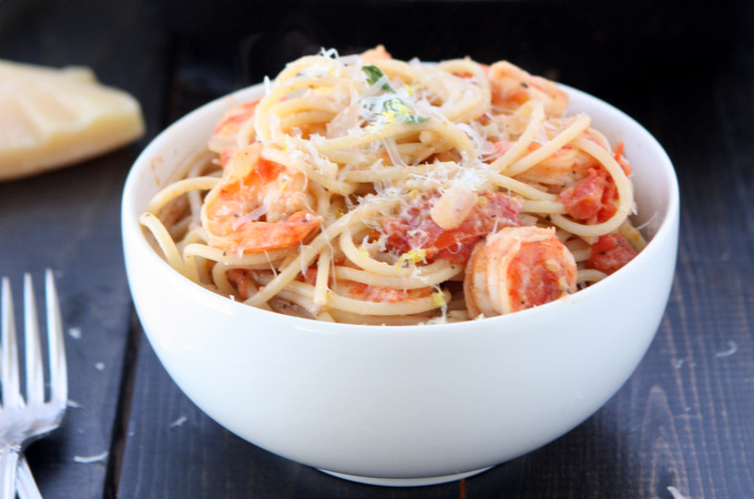 Creamy Tomato Pasta with Lemon Shrimp