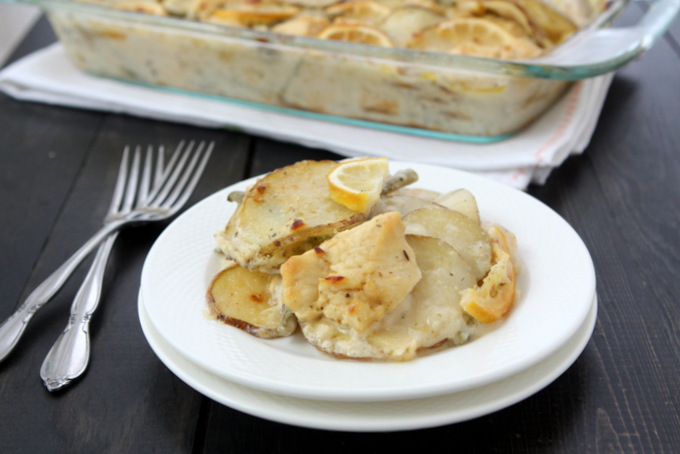 Lemon Chicken Potato Casserole | thekitchenpaper.com