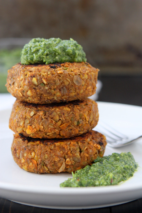Spicy Lentil Cakes with Miso Gremolata | thekitchenpaper.com