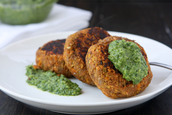 Spicy Lentil Cakes with Gremolata | thekitchenpaper.com