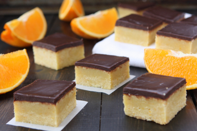 Orange Cookie Bars with Chocolate Ganache