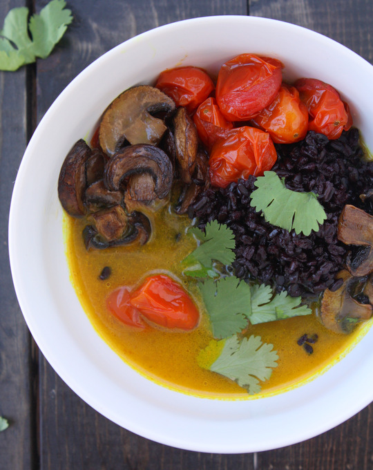 Turmeric Broth with Caramelized Mushrooms and Black Rice | thekitchenpaper.com