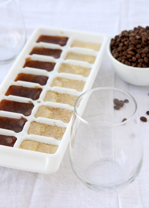 Iced Coffee with Vanilla Bean Coffee Ice Cubes | thekitchenpaper.com
