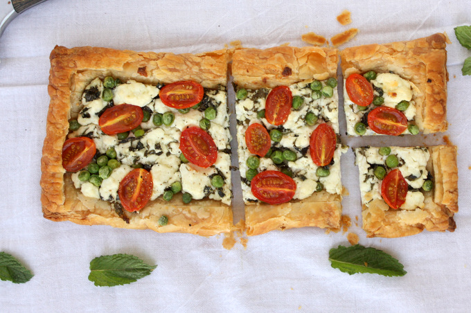 Spring Mint Goat Cheese Puff Pastry Tart