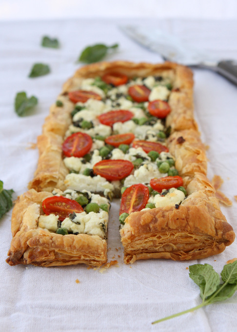 Spring Mint Goat Cheese Puff Pastry Tart | thekitchenpaper.com
