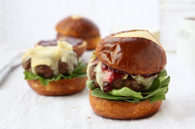 Brie & Jam Burgers on Pretzel Rolls