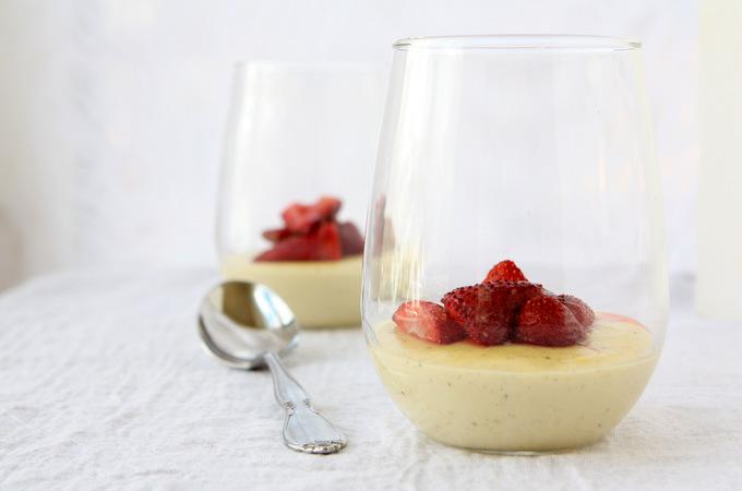 Honey Custards with Roasted Strawberries | thekitchenpaper.com