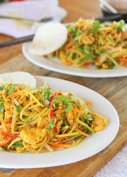 Gỏi Ngũ Sắc: Green Mango and Papaya Salad | thekitchenpaper.com