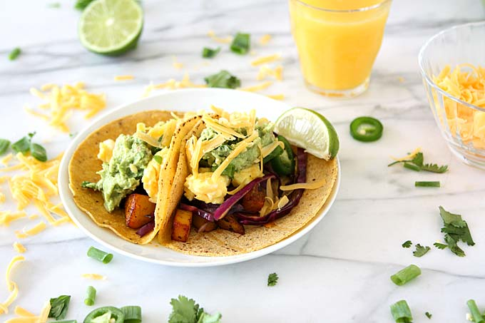 Chipotle Adobo Breakfast Tacos with Quick Guacamole