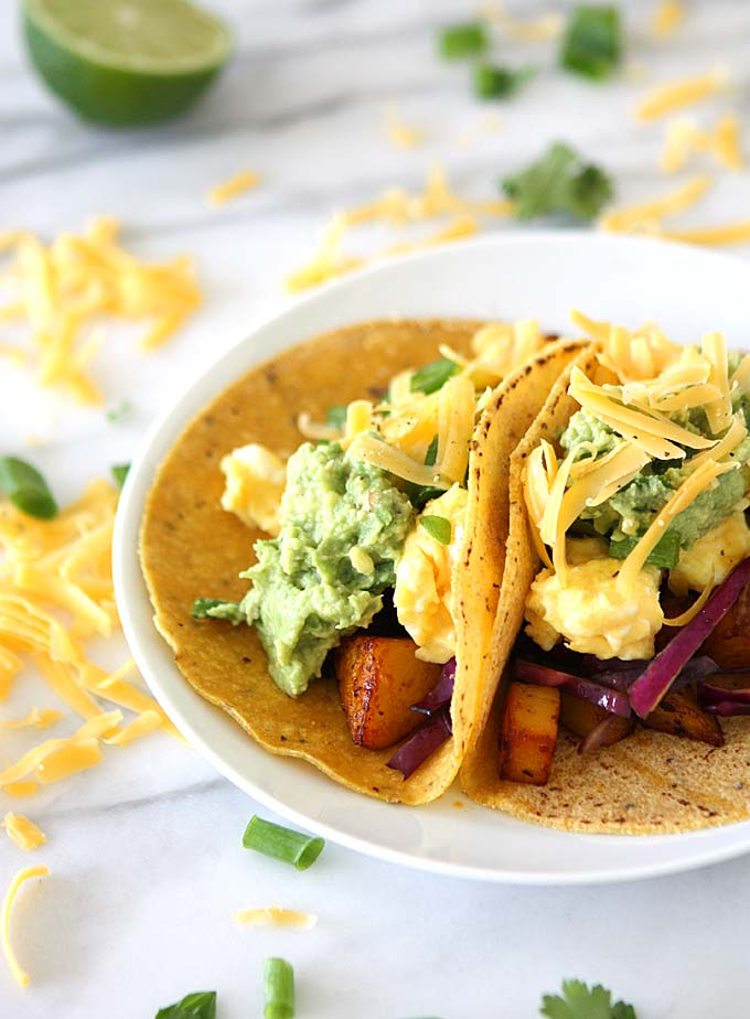 Chipotle Adobo Breakfast Tacos with Quick Guacamole | thekitchenpaper.com