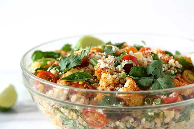 Elote Farro Tomato Salad {Mexican Street Corn Salad}