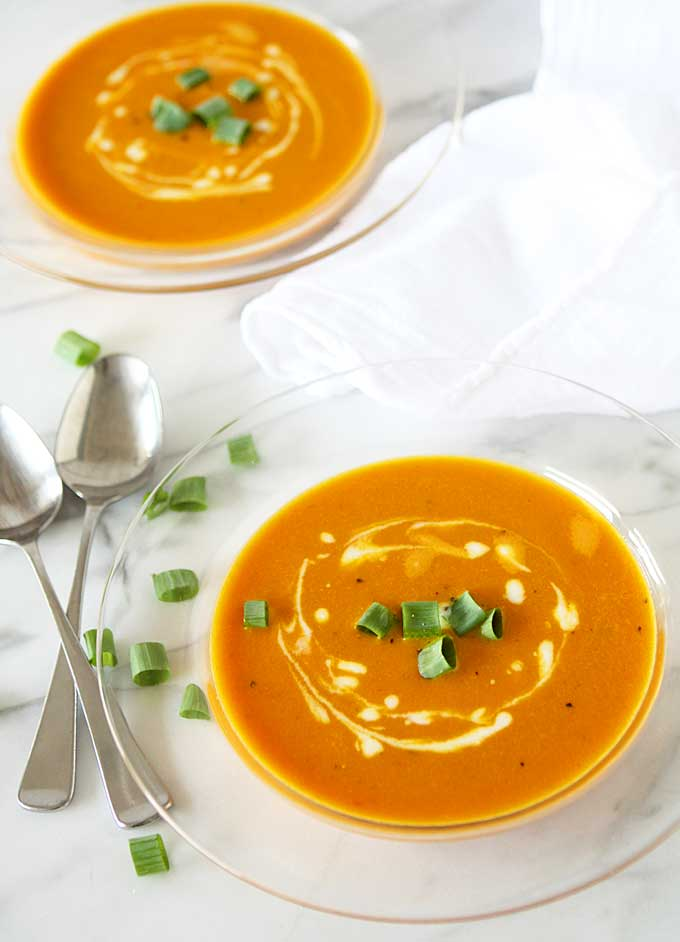 Orange Tomato, Turmeric, Coconut Soup | thekitchenpaper.com