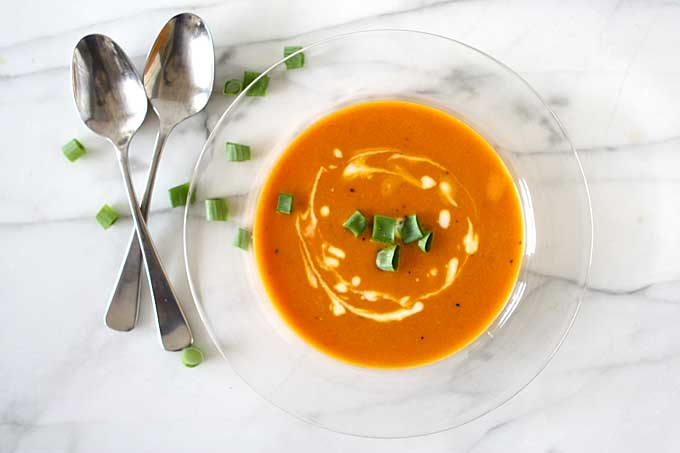 Orange Tomato, Turmeric, Coconut Soup