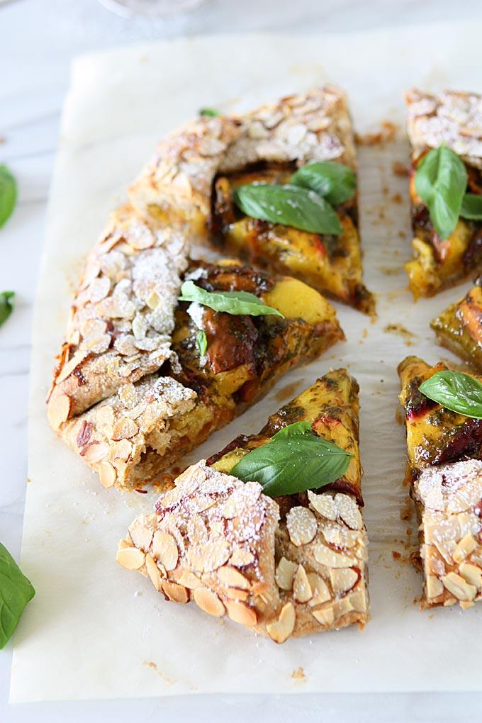 Peach Basil Galette with Whole Wheat Almond Crust | thekitchenpaper.com