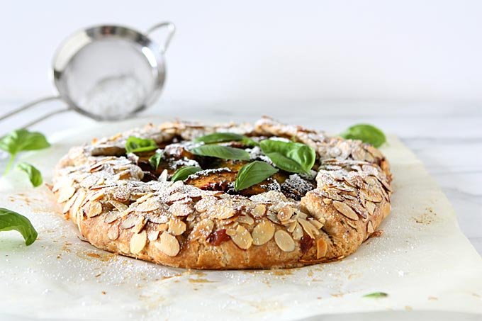 Peach Basil Galette with Whole Wheat Almond Crust | thekitchenpaper.com
