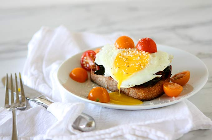 Fried Egg on Toast with Smoked Paprika and Maple Chard | thekitchenpaper.com