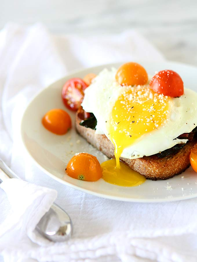 Fried Egg on Toast with Smoked Paprika and Maple Chard   thekitchenpaper.com