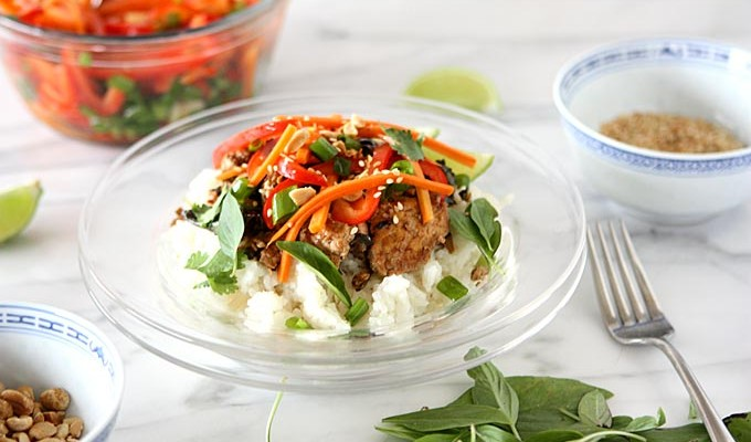 Thai Basil Tofu Scramble with Lemongrass Rice