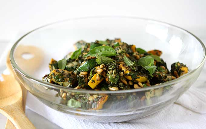 Blackened Summer Squash Salad with Pine Nuts, Basil, and Mint
