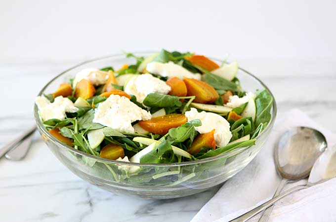 Golden Beet, Apple, Burrata, Arugula Salad