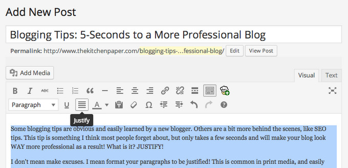 Blogging Tips: 5 Seconds to a More Professional Blog | thekitchenpaper.com