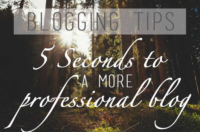 Blogging Tips: 5 Seconds to a More Professional Blog
