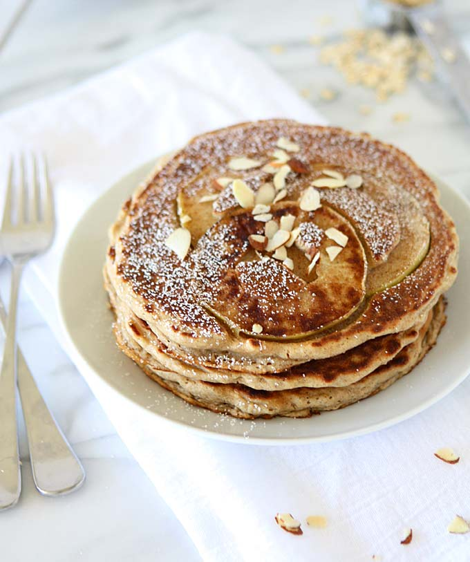Whole Wheat Cinnamon Apple Oatmeal Pancakes | thekitchenpaper.com