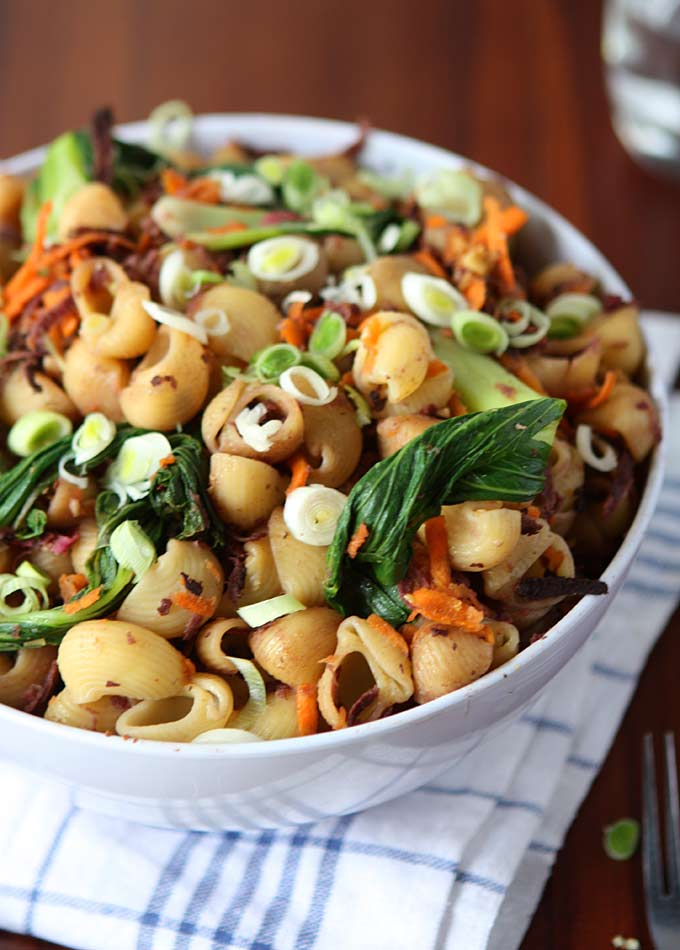 One Pot Sesame Vegetable Pasta (Carrots, Sweet Potato, Bok Choy) | thekitchenpaper.com