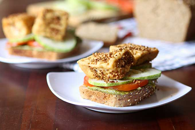 Sesame Tofu Sandwich with Spicy Basil Tahini   thekitchenpaper.com